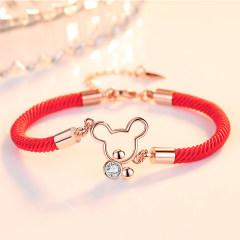 鼠年紅繩S925銀手鏈女招財旺運生肖飾品本命年情侶手鐲鏈節日禮物 可愛鼠