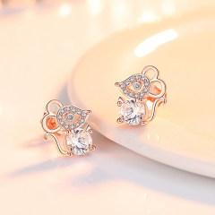 S925銀耳環女簡約氣質耳釘韓版時尚個性小巧耳墜2020新款潮耳飾品