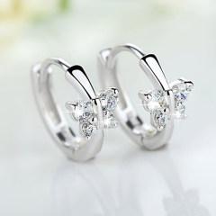 歐維希 S925銀耳環耳扣女韓版時尚氣質可愛蝴蝶鋯鉆耳飾品禮物