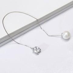 歐維希 925銀時尚個性貝珍珠耳環長款耳線 氣質女式流蘇耳墜