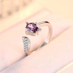 欧维希 韩版浪漫三生三世狐狸925银戒指指环 饰品银戒子女人石