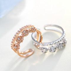 欧维希 s925银韩版戒指女双层食指玫瑰花复古开活口指环 金色双层玫瑰花戒指
