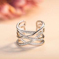 欧维希 韩版开口时尚戒指女925银日韩潮人情侣食指关节尾戒指环 经典银色