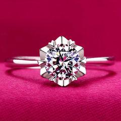 欧维希 925银戒指女 韩版时尚开口雪花女戒