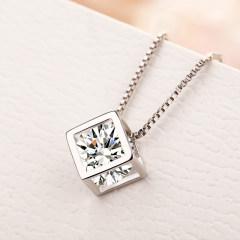 歐維希 S925銀項鏈女鎖骨鏈韓版甜美魔方吊墜時尚項鏈
