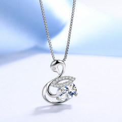 欧维希 925银镶钻项链女 韩版时尚气质天鹅吊坠锁骨链 时尚白钻+盒子链