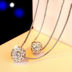欧维希 925银双层项链女日韩时尚镶钻吊坠简约锁骨链银饰品