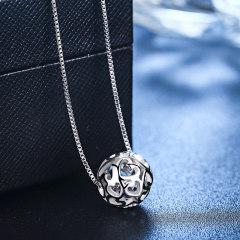 歐維希s925銀項鏈女韓版配飾鎖骨鏈鏤空轉運珠吊墜簡約時尚銀飾品