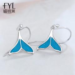 莫兰迪色系纯银美人鱼尾耳环女 冬季款超仙蓝色系网红气质耳坠