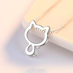 小貓純銀項鏈女鎖骨鏈飾品女生貓咪銀吊墜簡約氣質生日情人節禮物 玫瑰禮盒+銀盒子鏈