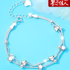 東方佳人銀手鏈女純銀學生簡約韓版個性首飾品冷淡風閨蜜生日禮物 玫瑰禮盒