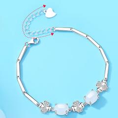 和田玉纯银项链手链套装女首饰玉吊坠中年妈妈款气质送母亲节礼物 优雅天鹅+玫瑰礼盒