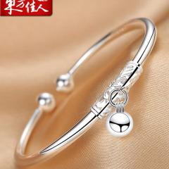 東方佳人純銀手鐲女鈴鐺銀鐲子簡約學生銀飾開口足銀手環飾品時尚 約20g 玫瑰禮盒