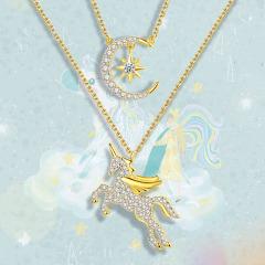 獨角獸星月亮925純銀項鏈女潮網紅彩金輕奢鎖骨小眾設計抖音氣質