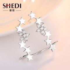 奢蒂純銀耳環女滿天星長款耳墜韓版簡約個性耳飾氣質閨蜜小眾設計