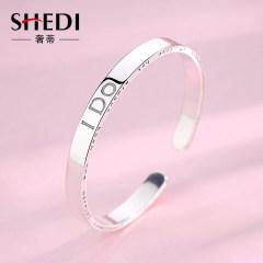 新款ido999純銀手鐲女學生個性時尚開口實心銀鐲子網紅小眾設計師