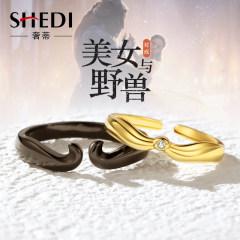 奢蒂原创设计纯银戒指女一对美女与野兽小众设计情侣对戒爱情信物 戒指一对
