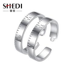 环环相扣情侣对戒纯银戒指女男一对小众设计简约学生纪念生日礼物