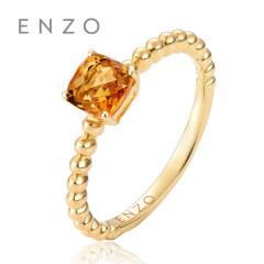 ENZO天然彩宝戒指 女18K黄金镶黄晶宝石女戒枕形花款条戒混搭戒指 10号 女戒