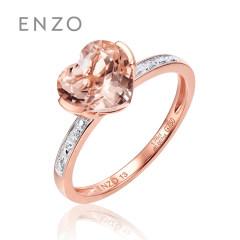 enzo珠宝 天然摩根石爱心形戒指18K玫瑰金群镶钻石女戒戒指 10号 女戒
