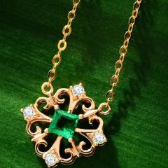 enzo珠宝 王室 18K黄金祖母绿项链 镂空天然彩宝钻石镶嵌经典链坠 链长三档可调:约41、43、
