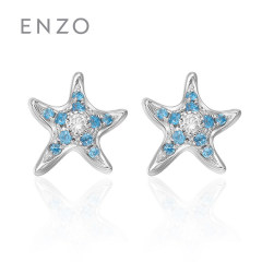 enzo珠寶 年輕海洋 18K白金托帕石鉆石耳釘小海星天然彩寶耳飾 托帕石*鉆石 單只耳釘