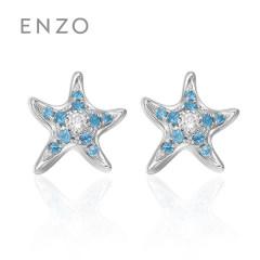 enzo珠宝 年轻海洋 18K白金托帕石钻石耳钉小海星天然彩宝耳饰 托帕石*钻石 单只耳钉