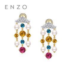 enzo珠宝 杜乐丽花园18K金珍珠黄晶托帕石女耳钉 商场定制款*约10个工作日左右发货*烦请