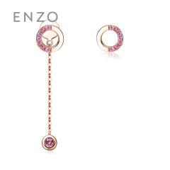 enzo珠宝 商场同款 亲亲抱抱 14K金彩宝耳钉耳线 玫瑰K金款*商场同款*约15个工作日发货