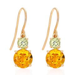 enzo珠寶 經典彩寶18K金黃晶耳環鑲嵌橄欖石彩色寶石單只耳飾 黃晶耳飾 單只(不含耳壁、送塑膠耳