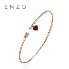 enzo珠宝 百变梦幻18K玫瑰金天然石榴石心形宝石镶钻箭头开口手镯