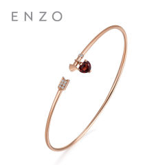 enzo珠寶 百變夢幻18K玫瑰金天然石榴石心形寶石鑲鉆箭頭開口手鐲