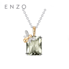 enzo珠宝 商场同款 丛林仙境探秘 14K黄金白金镶绿晶吊坠 14K金绿晶吊坠(不含链)*商