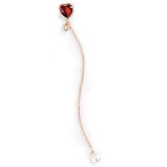enzo珠宝 我心中的玫瑰系列石榴石心形18K金镶钻Akoya珍珠耳饰 现货*18K黄金 石榴石 单