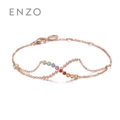 enzo珠宝 商场同款亲亲抱抱14K金镶五色彩色宝石手链手饰 约18cm