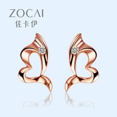 佐卡伊 18k金鉆石耳釘設計感耳環女愛心形小眾氣質真鉆耳飾新年款 一對共2分 現貨