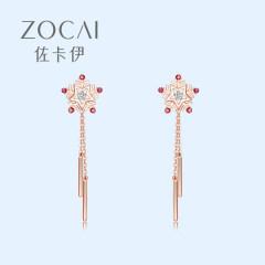 佐卡伊 18k金钻石耳钉设计感耳环女爱心形小众气质真钻耳饰新年款 一对共8分(预定)