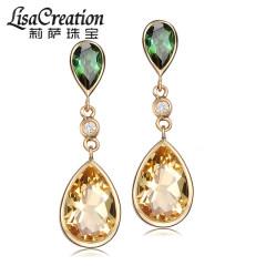 莉薩珠寶 14k金綠碧璽耳環 彩色寶石耳釘 托帕石耳墜 黃水晶耳環 天然碧璽+托帕石耳環
