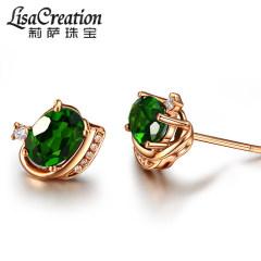 莉萨珠宝 1.75克拉透辉石耳钉 18K金镶钻石彩宝耳环 天然宝石耳钉 1.75克拉透辉石耳钉