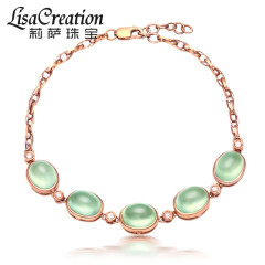 莉薩珠寶12.75克拉天然葡萄石手鏈 18K玫瑰金鉆石彩寶石首飾女款 12.75克拉 葡萄石手鏈