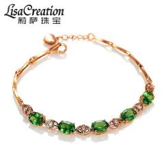 莉薩珠寶 4.92克拉天然沙弗萊石手鏈 18K玫瑰金鉆石彩色寶石手鏈 4.92克拉 沙弗萊18K手鏈