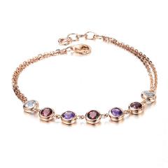 莉薩珠寶 2.02克拉天然碧璽手鏈 18K金紫水晶彩寶手鏈 鑲嵌定制 2.02克拉 天然碧璽手鏈