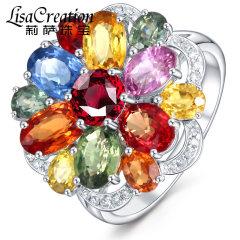 莉萨珠宝 花瓣设计 天然彩色蓝宝石戒指白18K金钻石彩色宝石女戒 蓝宝石戒指 7个工作日发货(备注手