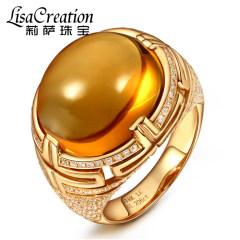 莉薩珠寶奢華15.96克拉天然黃水晶戒指18K玫瑰金鉆石黃晶寶石女戒 15.96克拉 黃水晶戒指