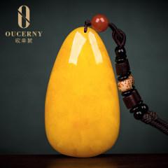 歐采妮配飾琥珀項鏈天然雞油黃毛衣鎖骨鏈D694蜜蠟水滴吊墜男女款掛件