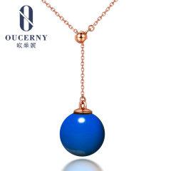 歐采妮 琥珀項鏈18K金鑲嵌天然墨西哥藍珀吊墜凈水高藍圓珠女款
