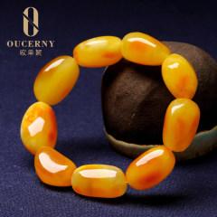 歐采妮 琥珀蜜蠟隨形手串手鏈天然雞油黃配飾正品男女士款手飾 A1284