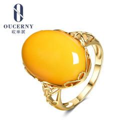 歐采妮 雞油黃琥珀蜜蠟戒指女款18K黃金鑲嵌天然正品食指戒飾品