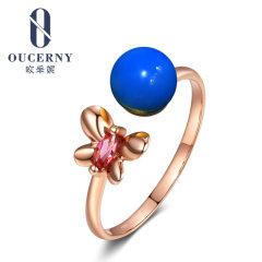 欧采妮 多米尼加蓝珀戒指 天然琥珀18K玫瑰金镶嵌圆珠蝴蝶女手饰