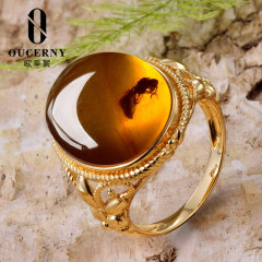 欧采妮 虫珀戒指 琥珀缅甸天然无优化蜜蜡虫珀镶嵌18K白金戒指